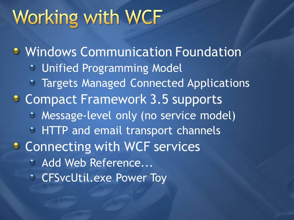 Working with WCF Windows Communication Foundation