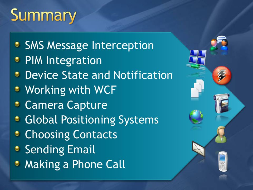 Summary SMS Message Interception PIM Integration