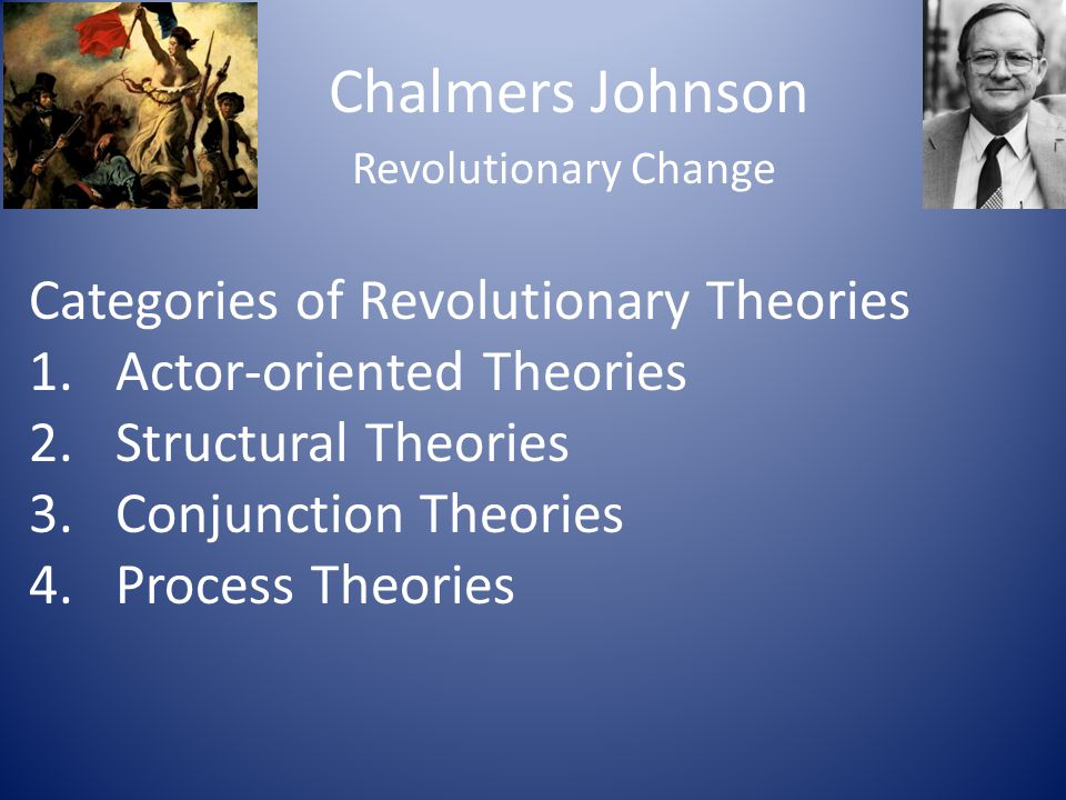 Chalmers Johnson Categories of Revolutionary Theories