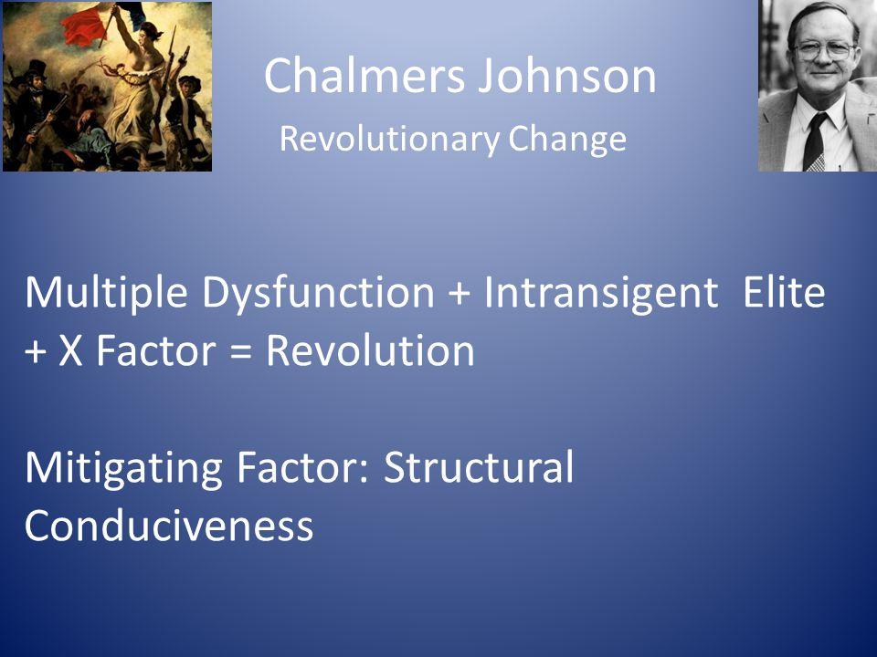 Chalmers Johnson Revolutionary Change. Multiple Dysfunction + Intransigent Elite + X Factor = Revolution.