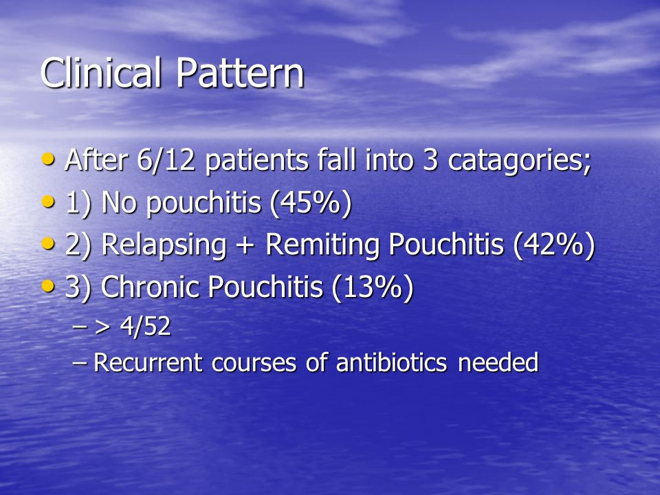 Clinical Pattern After 6/12 patients fall into 3 catagories;