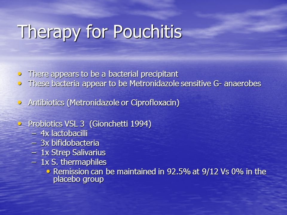 Therapy for Pouchitis There appears to be a bacterial precipitant