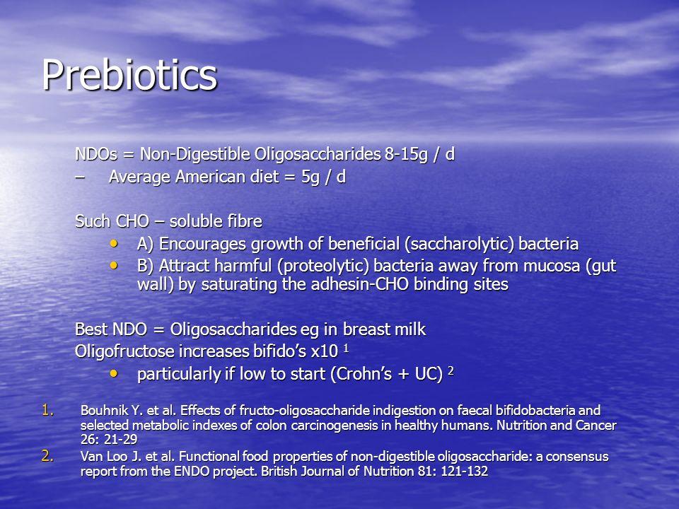 Prebiotics NDOs = Non-Digestible Oligosaccharides 8-15g / d