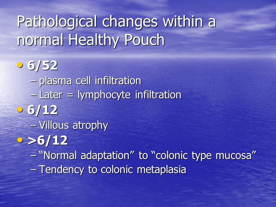 Pathological changes within a normal Healthy Pouch
