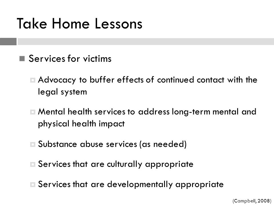 Take Home Lessons Services for victims
