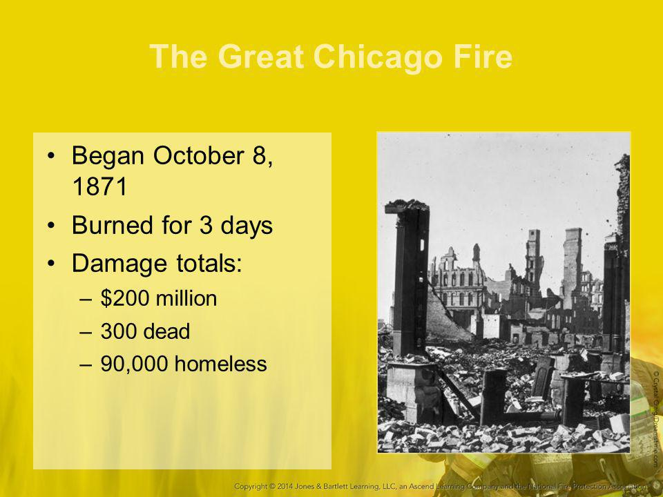 The Great Chicago Fire Began October 8, 1871 Burned for 3 days