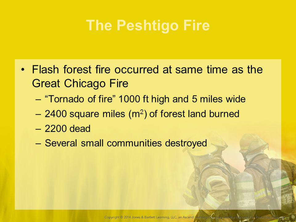 The Peshtigo Fire Flash forest fire occurred at same time as the Great Chicago Fire. Tornado of fire 1000 ft high and 5 miles wide.