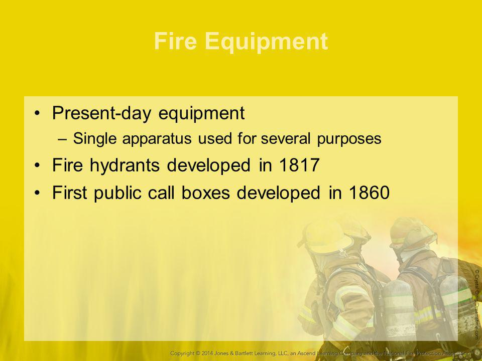Fire Equipment Present-day equipment Fire hydrants developed in 1817
