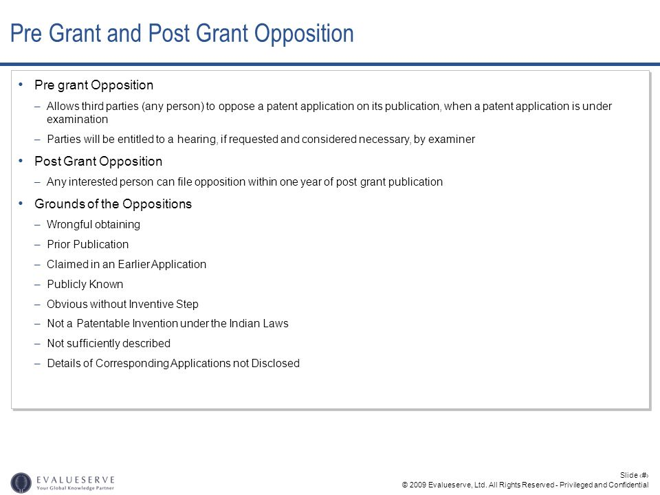 Pre Grant and Post Grant Opposition