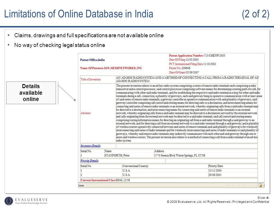 Limitations of Online Database in India (2 of 2)