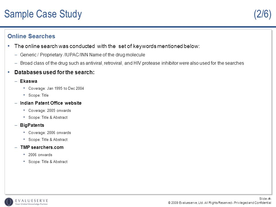 Sample Case Study (2/6) Online Searches
