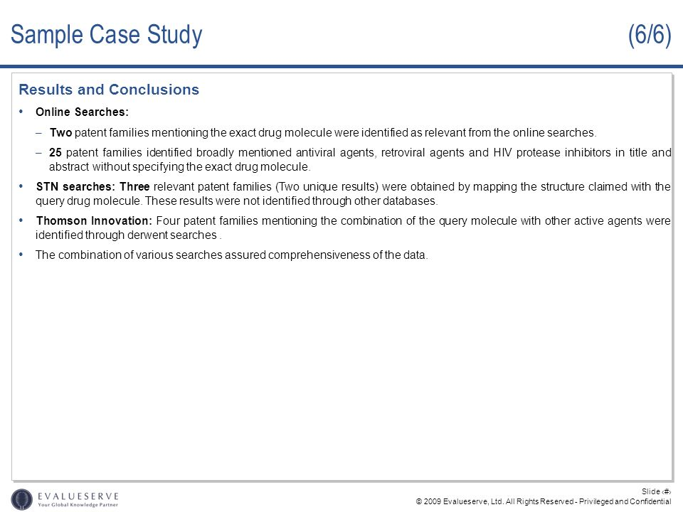 Sample Case Study (6/6) Results and Conclusions Online Searches: