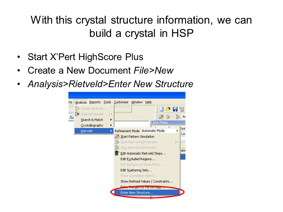 With this crystal structure information, we can build a crystal in HSP