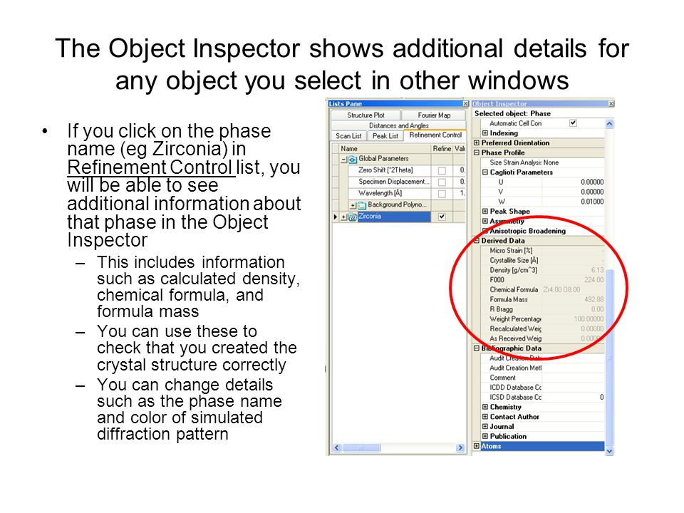 The Object Inspector shows additional details for any object you select in other windows