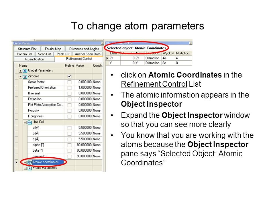 To change atom parameters