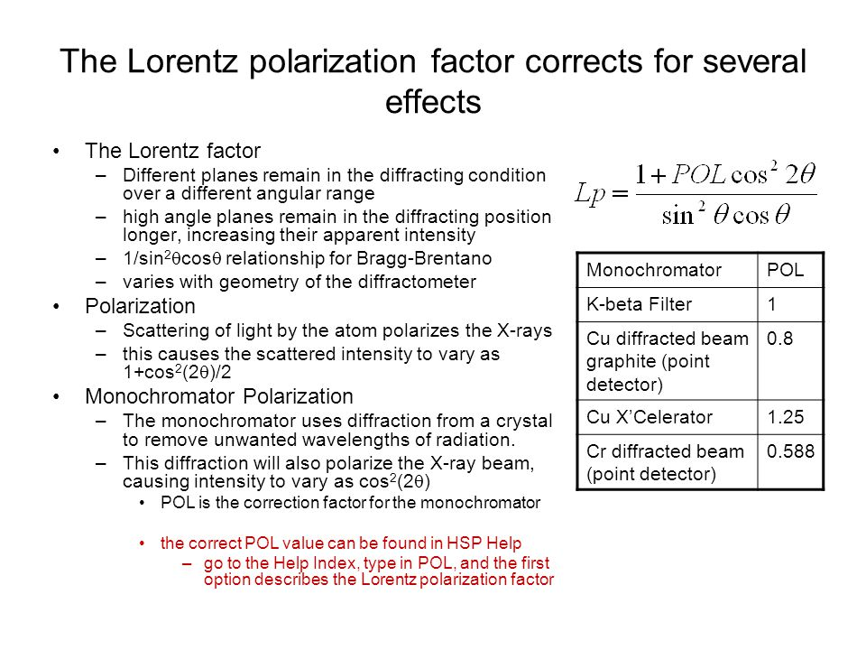 The Lorentz polarization factor corrects for several effects
