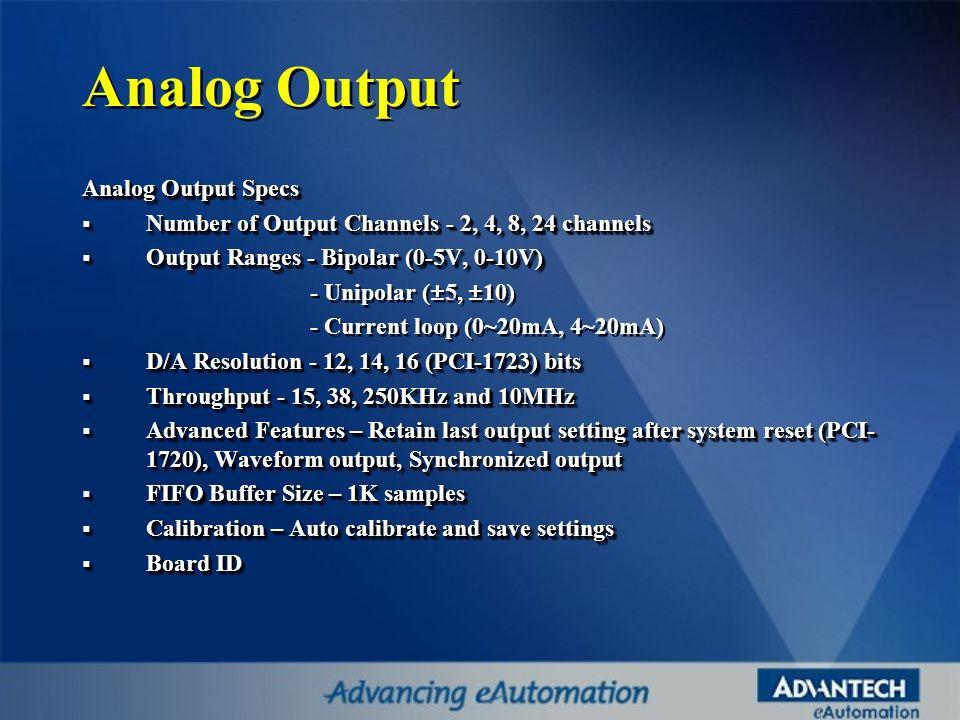 Analog Output Analog Output Specs