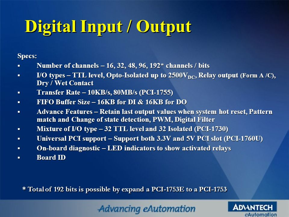 Digital Input / Output Specs: