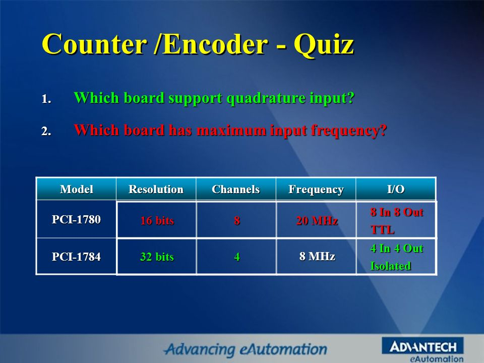 Counter /Encoder - Quiz