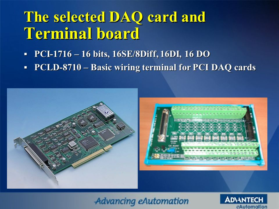 The selected DAQ card and Terminal board