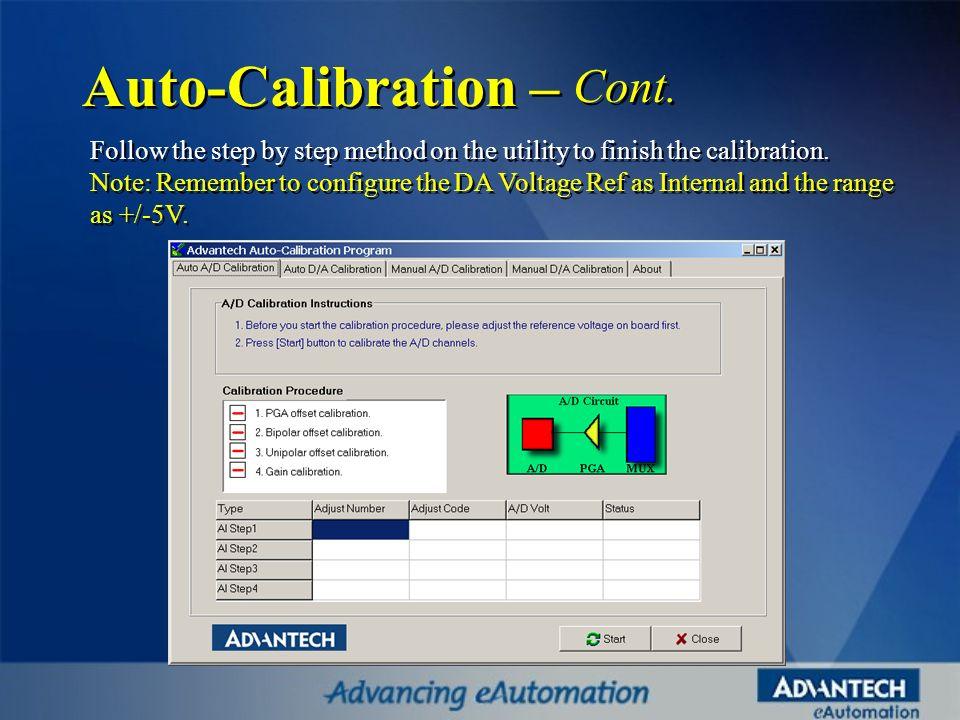 Auto-Calibration – Cont.