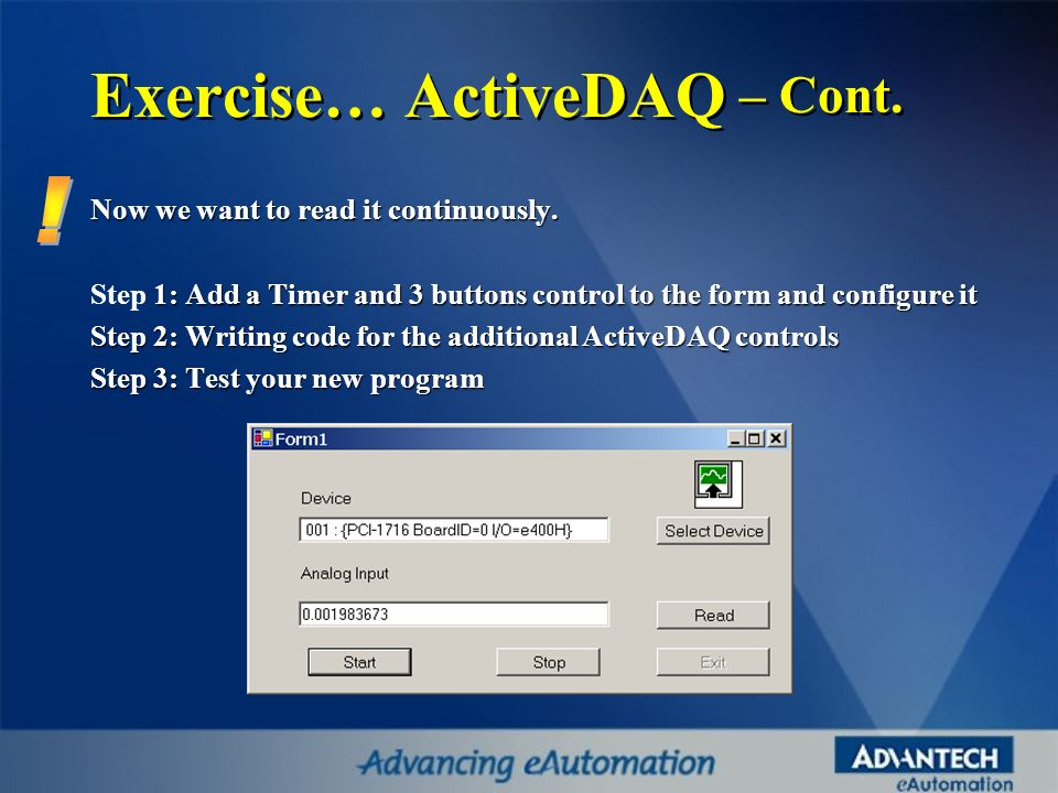 Exercise… ActiveDAQ – Cont.