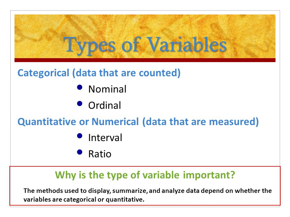 Why is the type of variable important