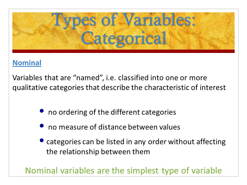 Types of Variables: Categorical