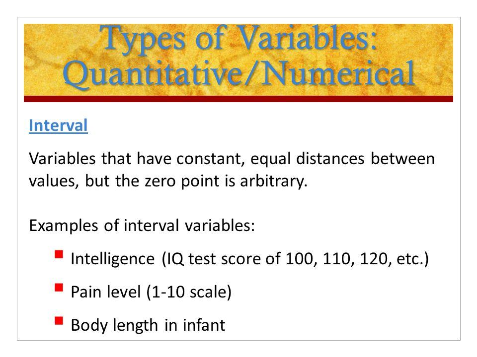 Types of Variables: Quantitative/Numerical