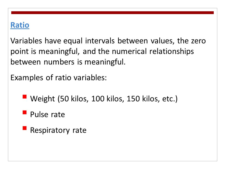Examples of ratio variables:
