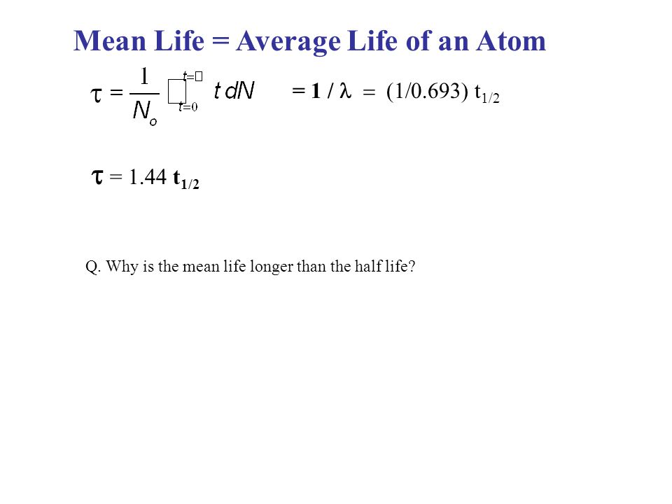 Mean Life = Average Life of an Atom