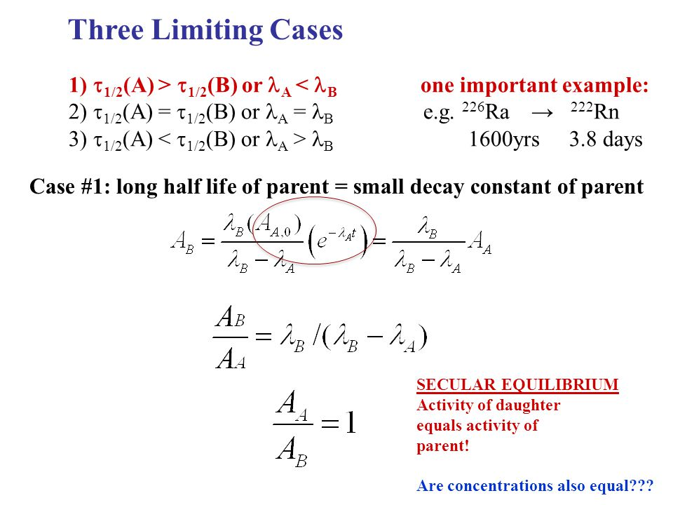 Three Limiting Cases 1) t1/2(A) > t1/2(B) or lA < lB one important example: