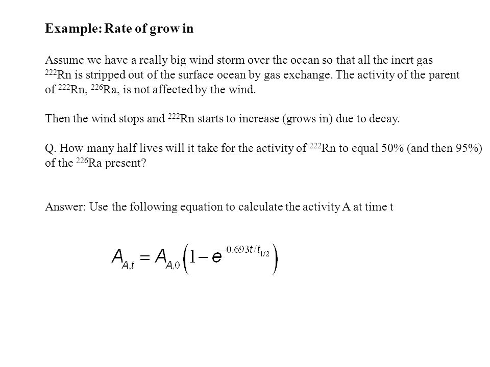 Example: Rate of grow in