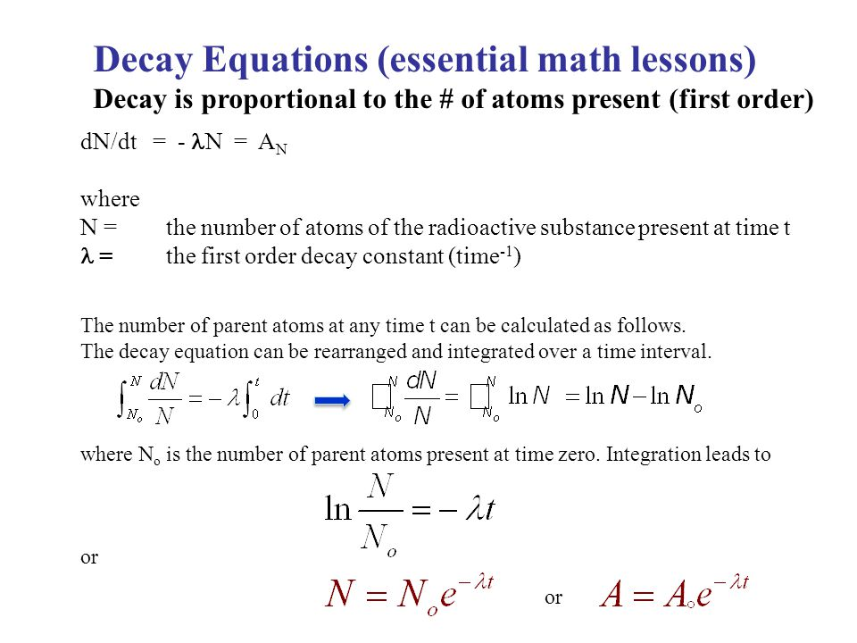 Decay Equations (essential math lessons)