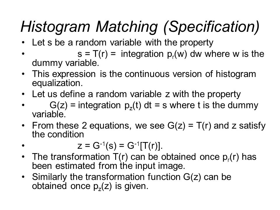 Histogram Matching (Specification)