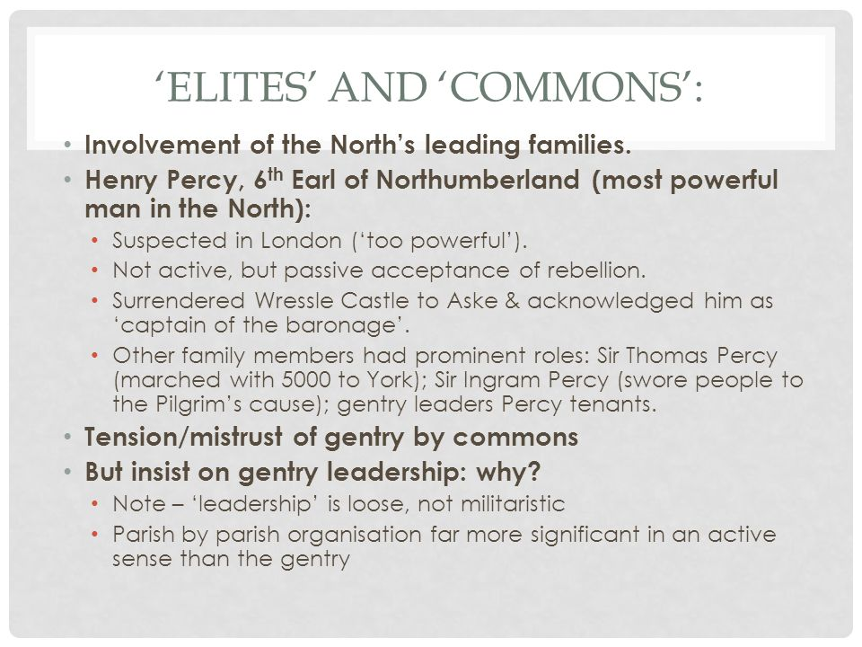 'Elites' and 'Commons':