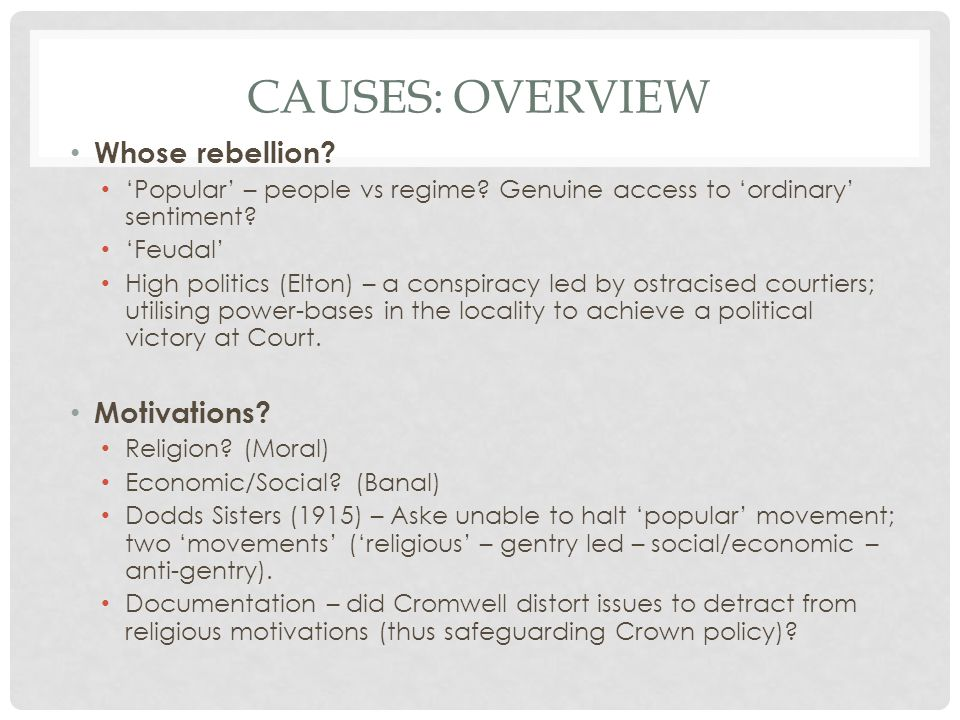 Causes: overview Whose rebellion Motivations