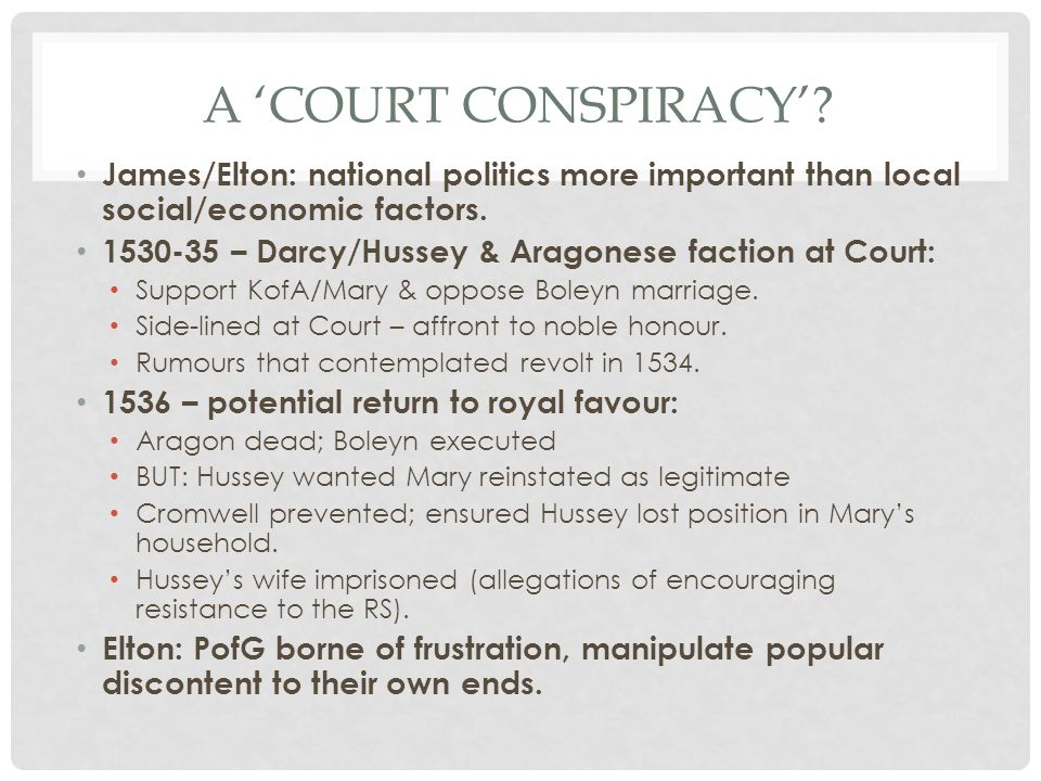A 'court conspiracy' James/Elton: national politics more important than local social/economic factors.