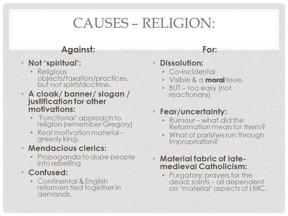 Causes – religion: Against: For: Not 'spiritual':