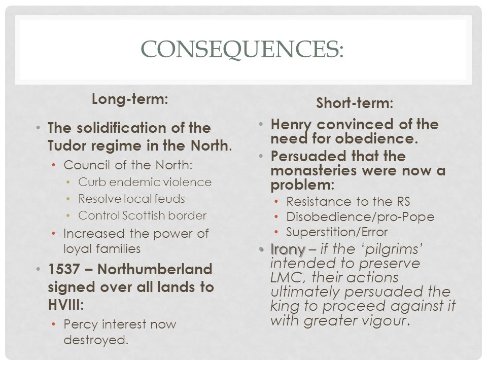 Consequences: Long-term: Short-term: