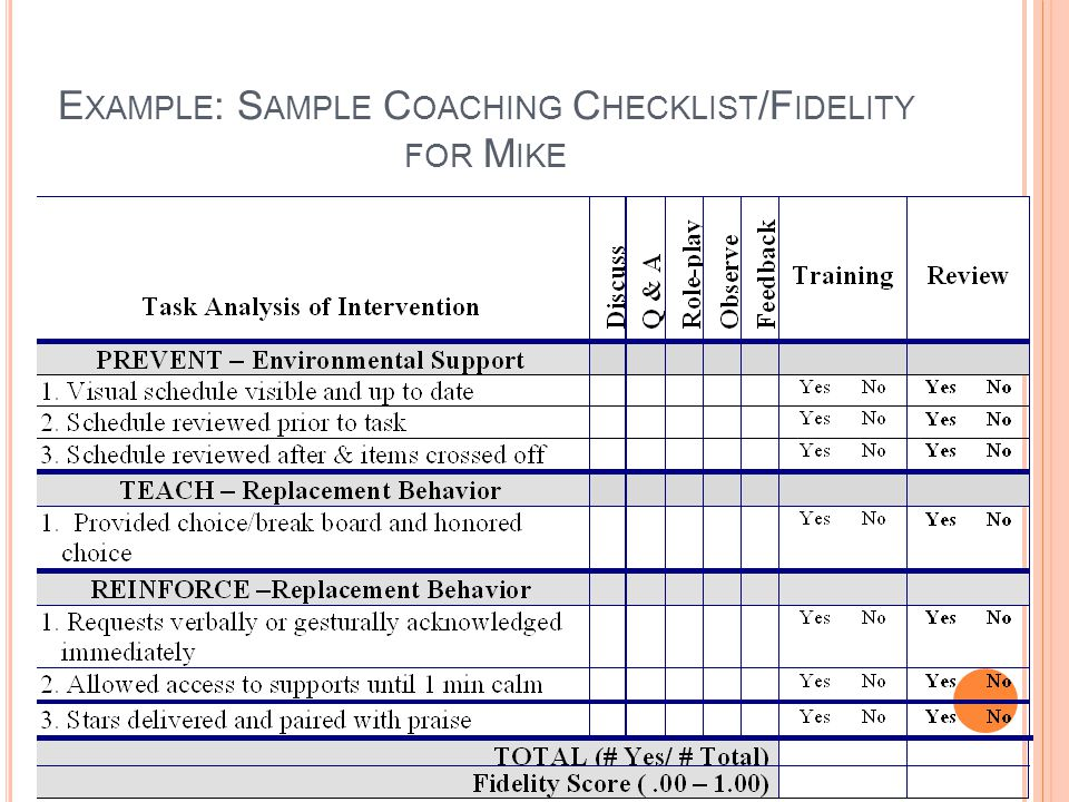 Example: Sample Coaching Checklist/Fidelity for Mike