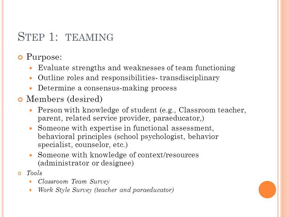 Step 1: teaming Purpose: Members (desired)