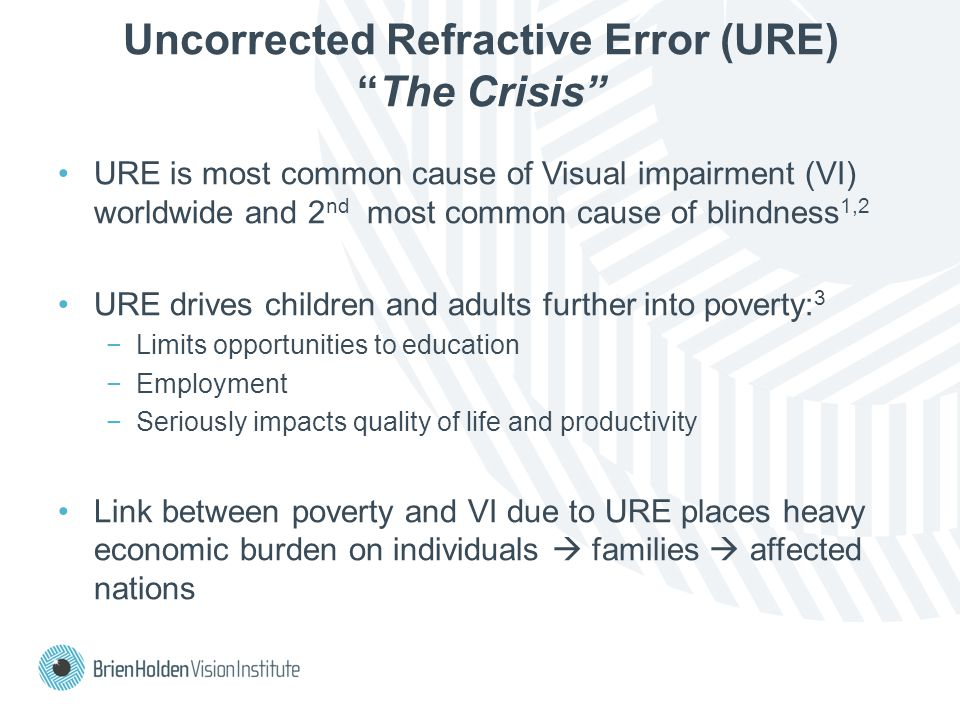 Uncorrected Refractive Error (URE) The Crisis