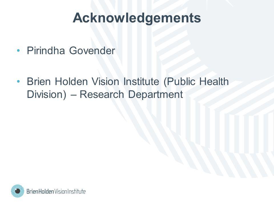 Acknowledgements Pirindha Govender