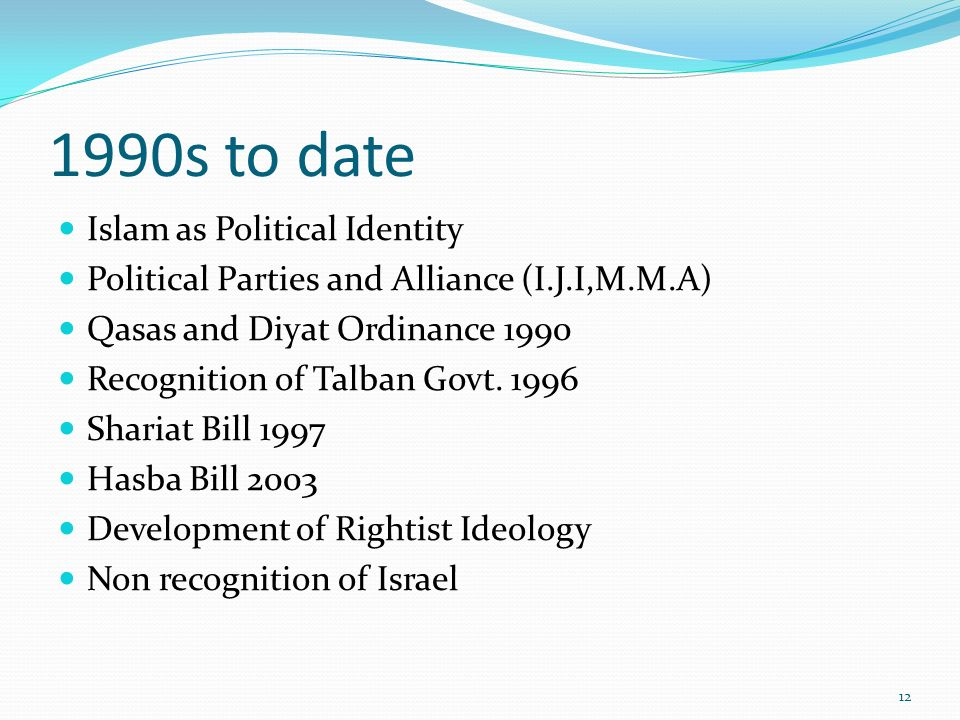 1990s to date Islam as Political Identity