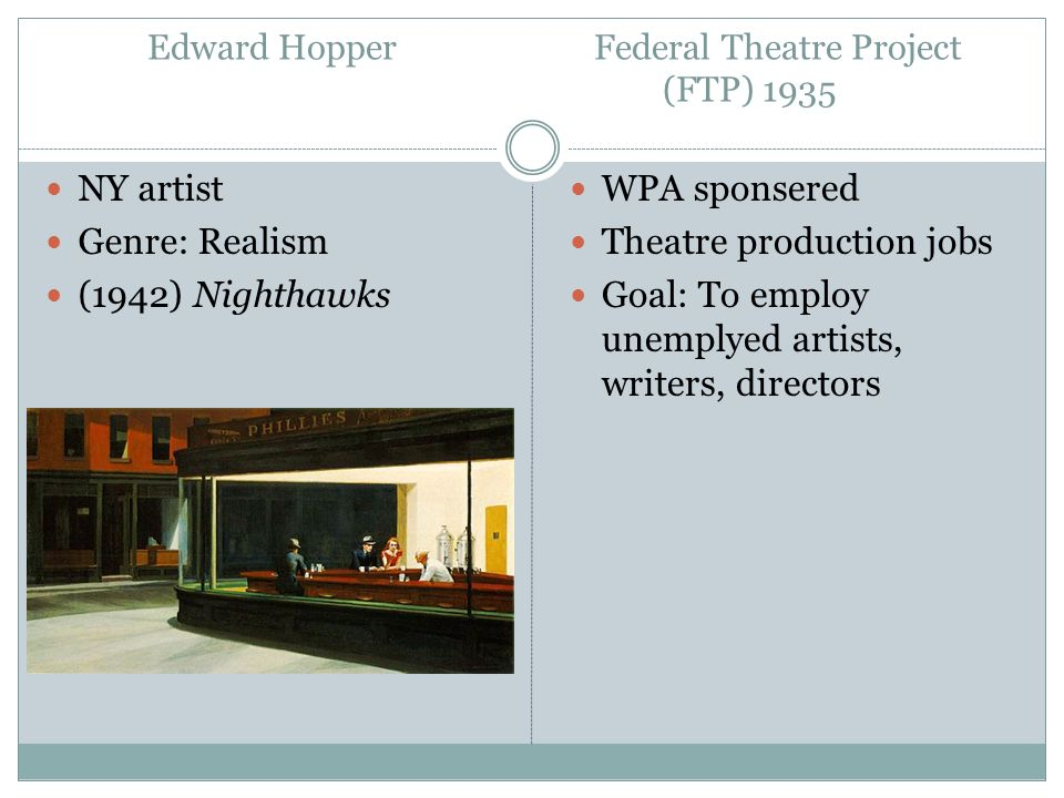 Edward Hopper Federal Theatre Project (FTP) 1935