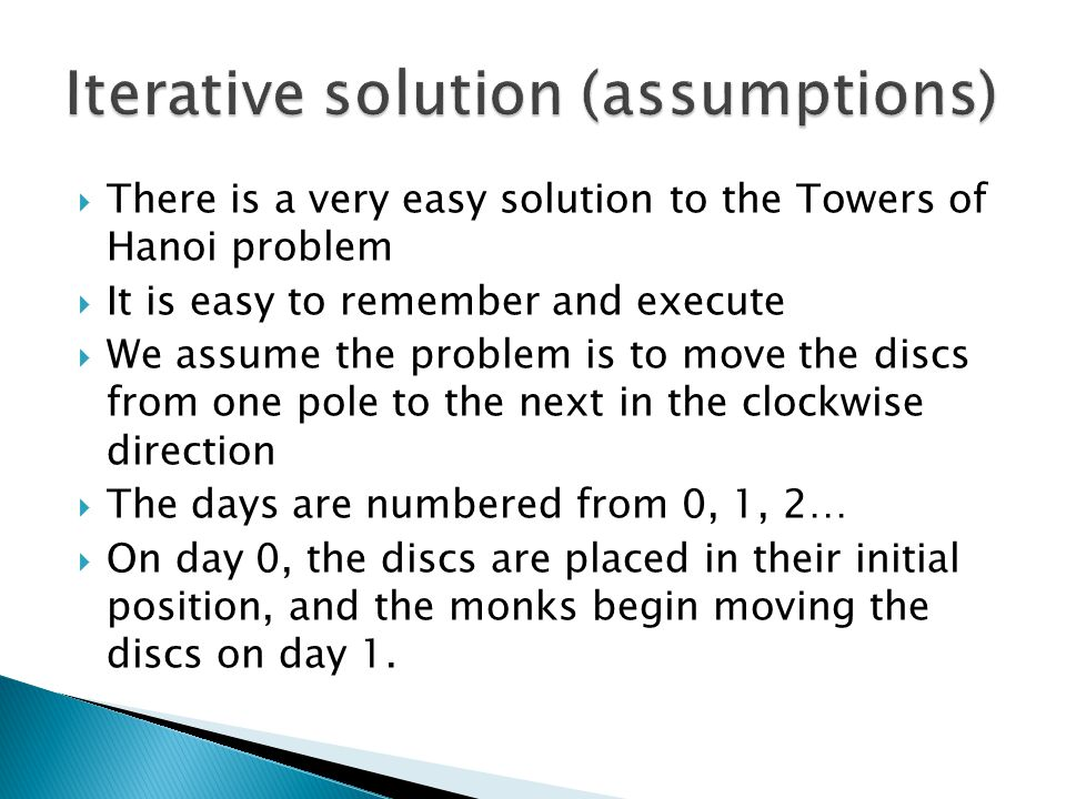Iterative solution (assumptions)
