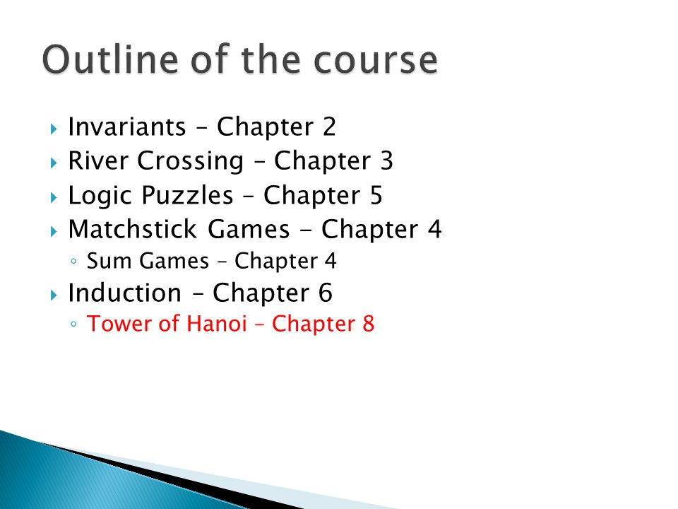 Outline of the course Invariants – Chapter 2