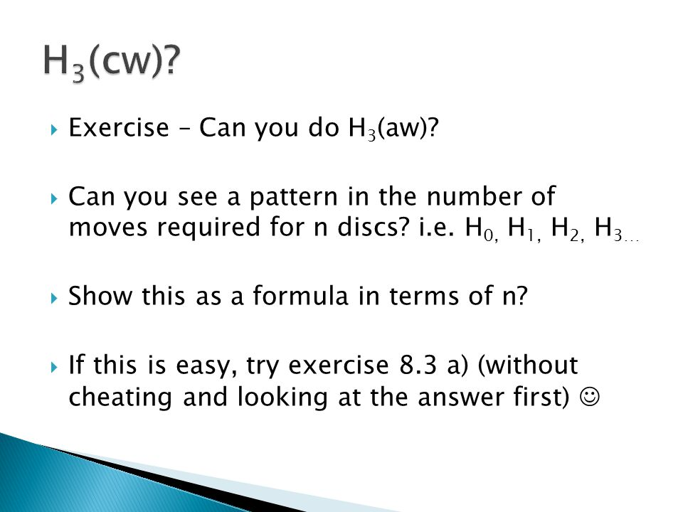 H3(cw) Exercise – Can you do H3(aw)