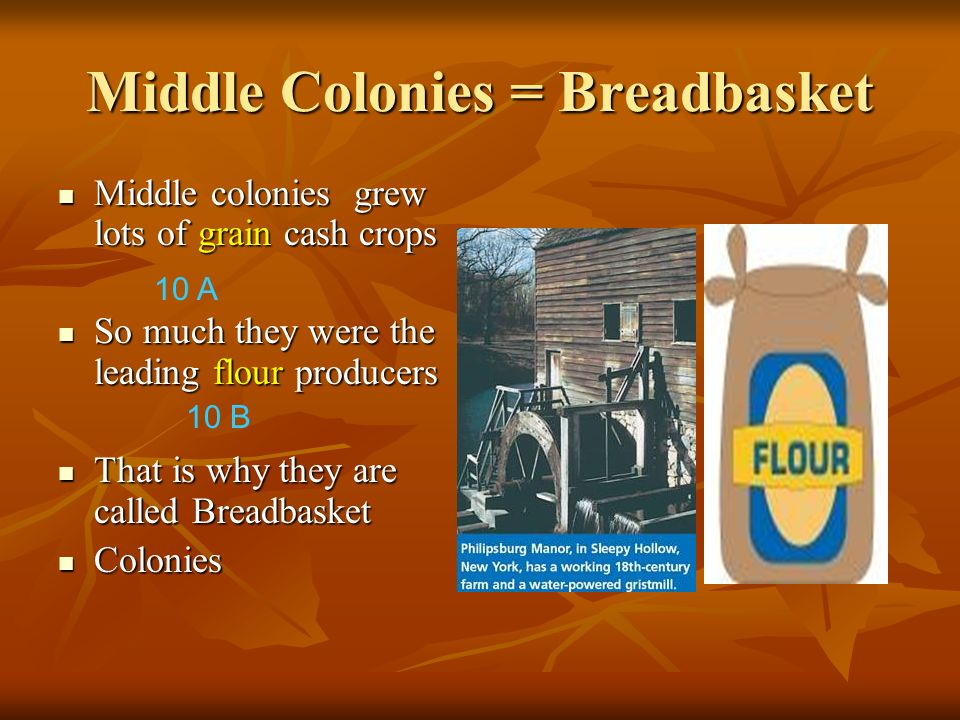 Middle Colonies = Breadbasket